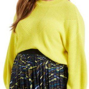 Eloquii Yellow Bishop Sleeve Crewneck Sweater Sz14